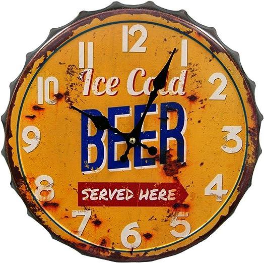 HDC International 05-0073 Ice Cold Beer Bottle Cap Wall Clock, 14 , Orange