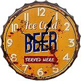 "HDC International 05-0073 Wall Clock, Orange, 14"" Ice Cold Beer Bottle Cap"