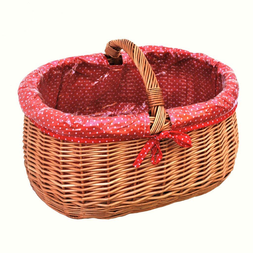 10-101-17 GalaDis Kleiner Einkaufskorb aus Weide geflochten mit Innenfutter (rot), Weidenkorb Geschenkkorb Präsentkorb (45 x 32 x 25)