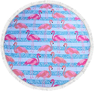 Deffbb Maple&Home Custom Blue Background Flamingo Pattern Beach Towel - Round Tablecloth Wall Hanging Tapestry Beach Blanket Yoga Mat Sunscreen Shawl Wrap Skirt Tassels Cotton