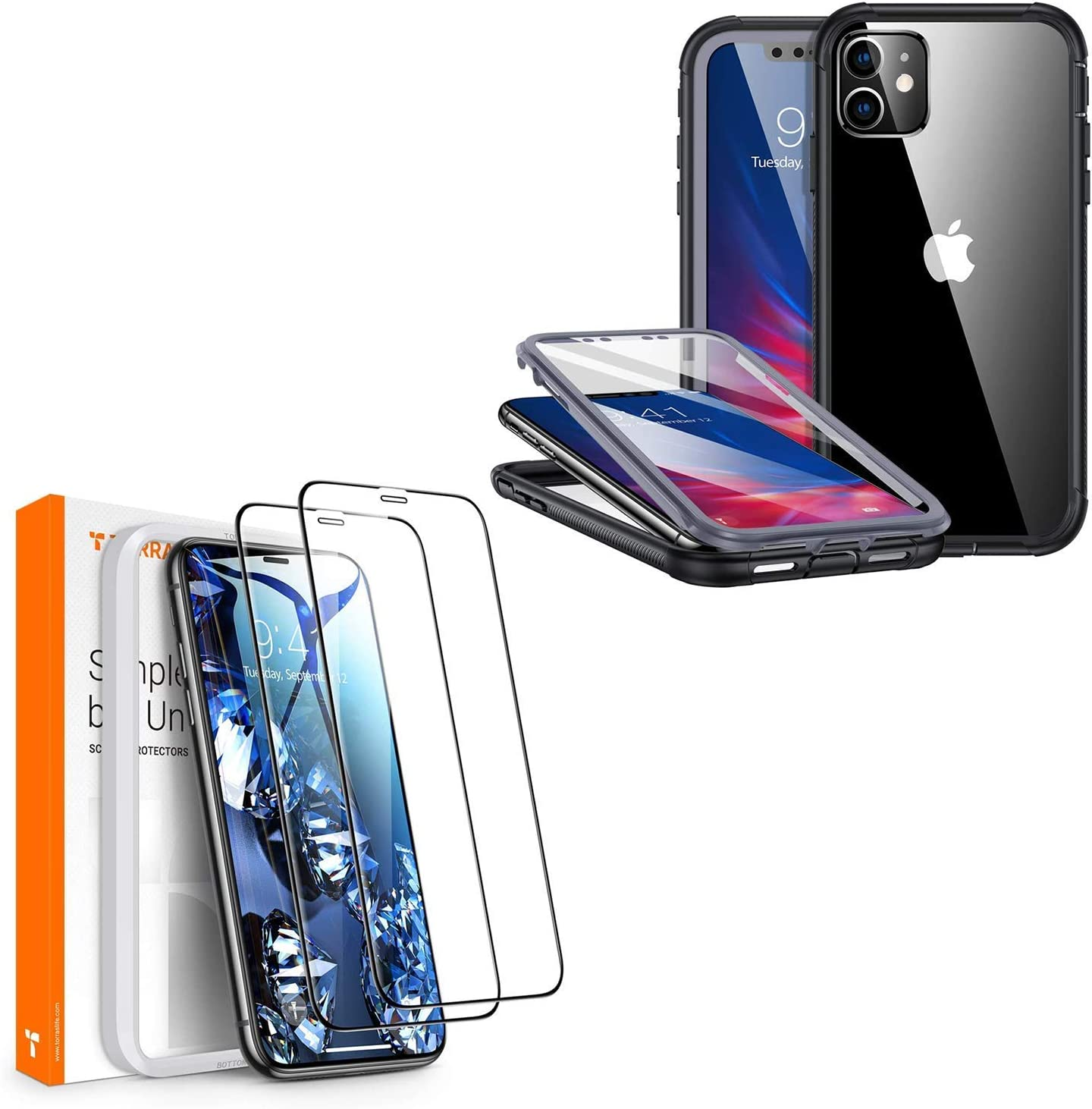 TORRAS Armor Compatible with iPhone 11 case & Diamonds Hard iPhone 11 Screen Protector