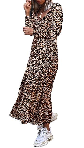 promo code f6f63 9b815 Vestiti Donna Autunno Fashion Confortevole Leopard Stampato ...