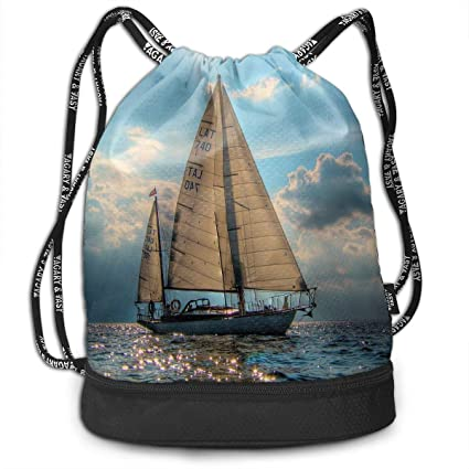 Bolsas de Gimnasia Bolsas de Cuerdas, Sailboat Ocean Print ...