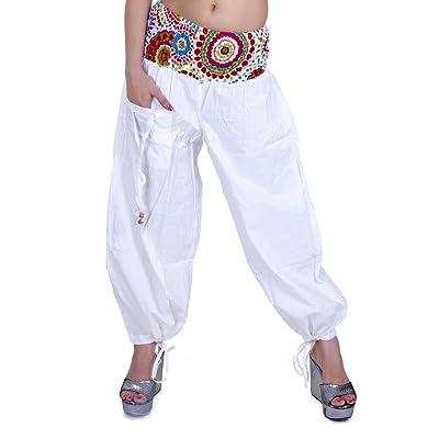 Sarjana Handicrafts Women's Cotton Harem Palazzo Yoga Dance Genie Hippie Pants