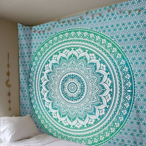 Hippie Green (Popular Indian hippie mandala blue tapestry multi-purpose decorative wall hanging,Wall Tapestry (59W×59L, Green))