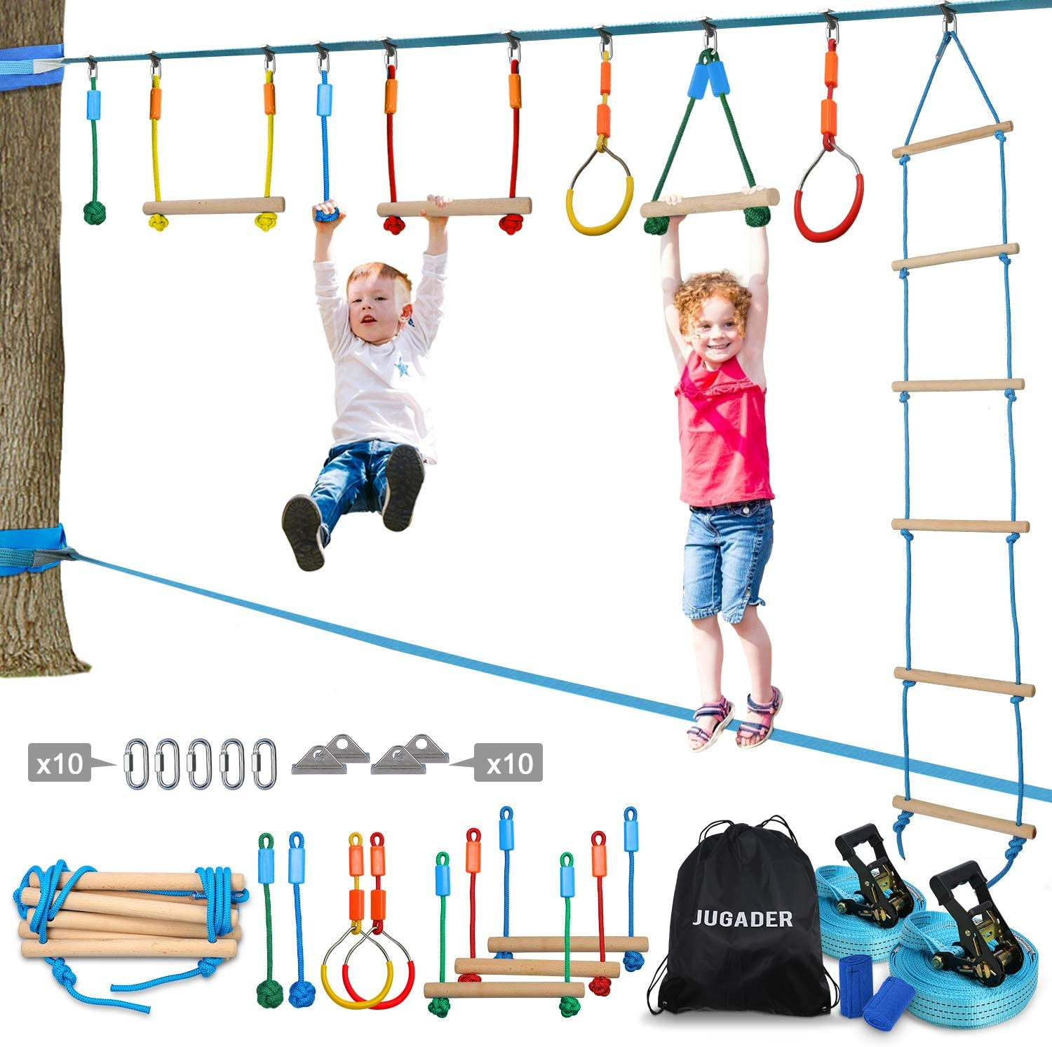 Jugader Ninja Warrior Obstacle Course for Kids - 50FT Ninja Slackline with Ladder, Gym Rings, Monkey Bars, Rope Knots (Ninja Line + Slack Line)