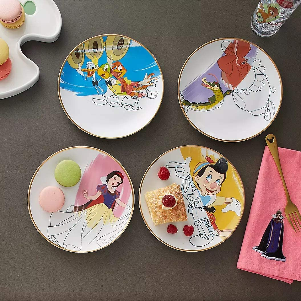 Disney Ink /& Paint Ceramic Salad or Desert Plate Set 30s Pinocchio 40s Snow White Hyacinth Hippo with Ben Ali Gator Donald Duck with Jos/é Carioca and Panchito