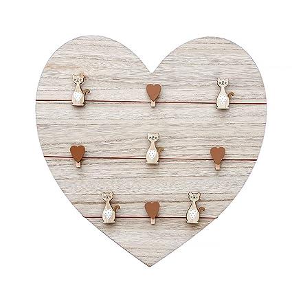 Tablero de notas, tablero de mensajes, marco de fotos de madera 39x39cm forma de corazón panel de pared para colgar con clips corazones y gatos, ...