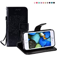 """iPhone SE Case,iPhone 5S Cover,iPhone 5 Flip Case 4"""" [With Tempered Glass Screen Protector],Fatcatparadise [Kickstand] Retro Flip Case,Elegant Vintage Pressed Tree Cat Butterfly Pattern Design Magnetic Premium PU Leather [with Lanyard Strap/Rope] Credit Card/Cash Holder Slots Wallet Fashion Ultra Slim Fit Protective Case For iPhone SE/5S/5"""