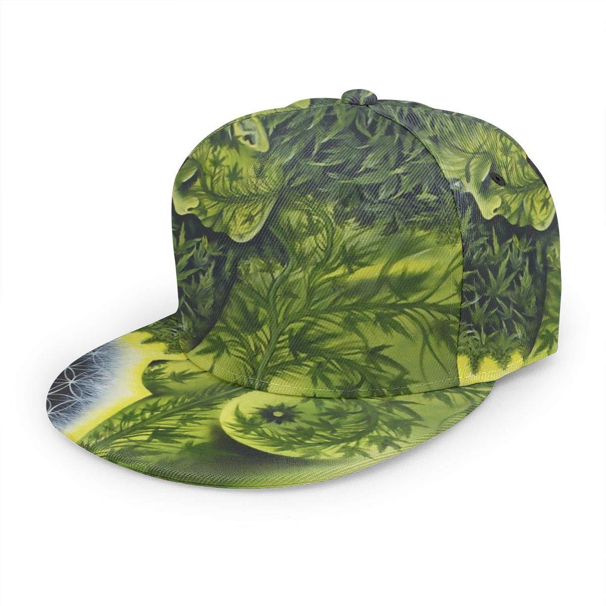 African Woman Weed Leaves Art Girl Fashion Adjustable Flat Brim Baseball Cap Black Accessories Hats Caps