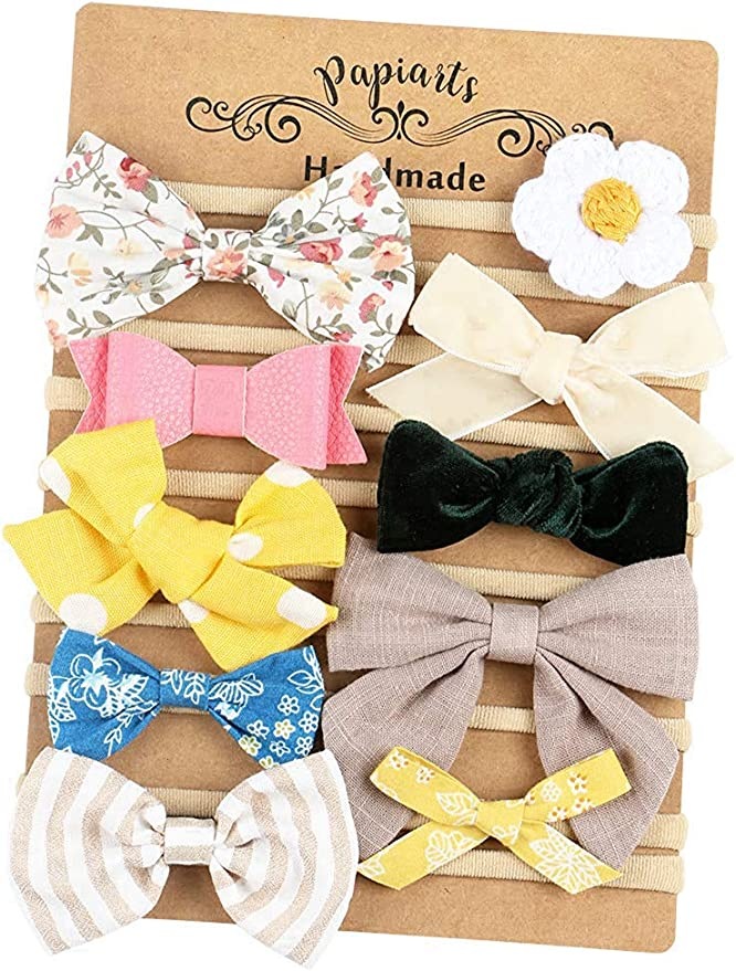 Baby Girl Headbands and Bows, Nylon Headbands, Hair Accessories for Newborn Toddler Girls