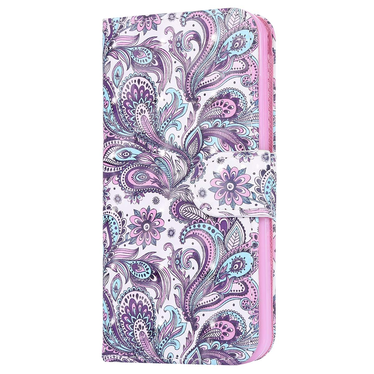 Surakey iPhone SE Case,iPhone 5S Case,iPhone 5 Case, Glitter 3D Flip Leather Phone Case Wallet Case Protective with TPU Case inner Bling Case in Bookstyle Cover Bumper for iPhone SE /5S /5, Silver#7 SUR14617