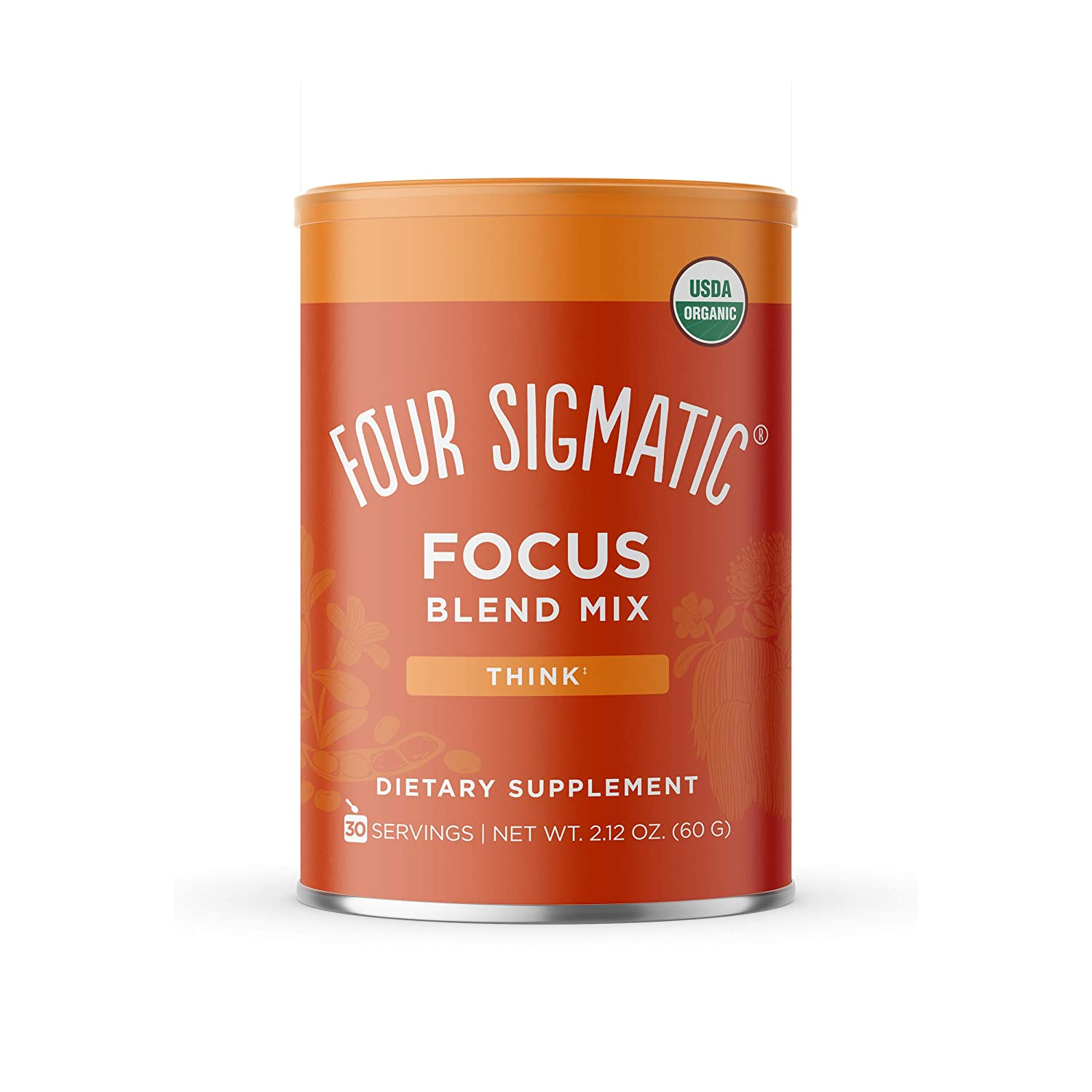 Four Sigma Foods Focus Blend, 8 Superfoods Adaptogen Blend Mix with Lion's Mane, Cordyceps, Rhodiola, Bacopa & Mucuna, Productivity & Creative Support, Decaf + Dissolves Easily, 30 Servings