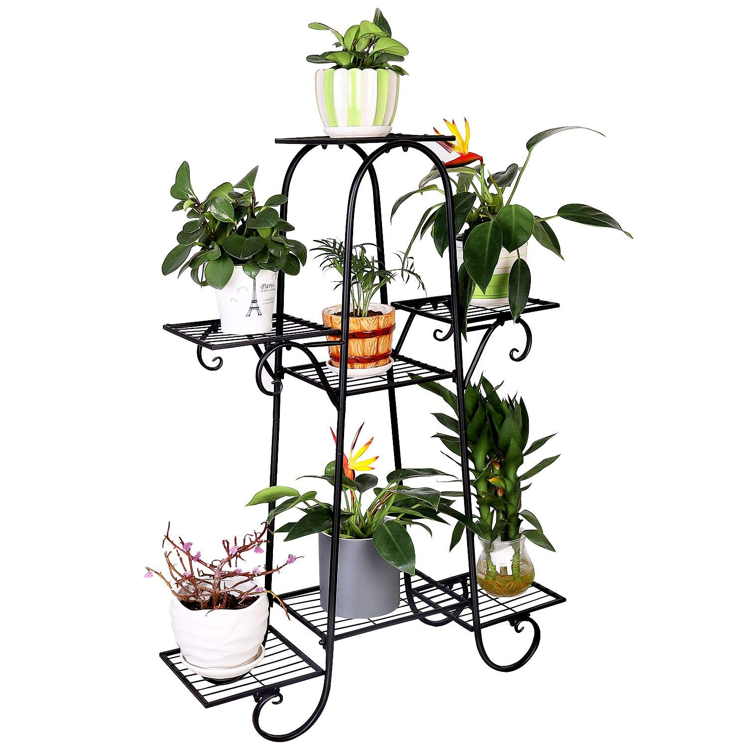 7 Tier Metal Plant Stand Shelf Indoor Wrought Iron Plant Stands Outdoor Multilayer Potted Planters Display Rack Patio Garden, Size: 66 x 22 x 102cm by unho