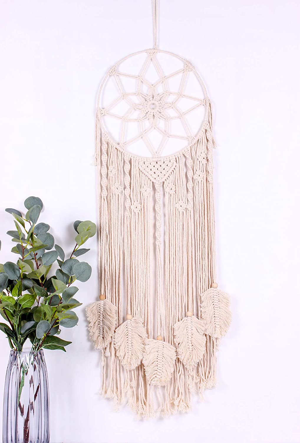 AerWo Macrame Dream Catcher Woven Wall Hanging,Huge Dream Catcher Wall Decor with Feather Leaf and Canvas Bag for Bedroom Baby Nursery Decor, Boho Tassels Decoration Handmade Dreamcatcher, 36 x 13 Inc