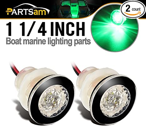 PACTRADEMARINE BOAT LED LIVEWELL ROUND WHITE COURTESY LIGHT x 2 WATERPROOF 12 V