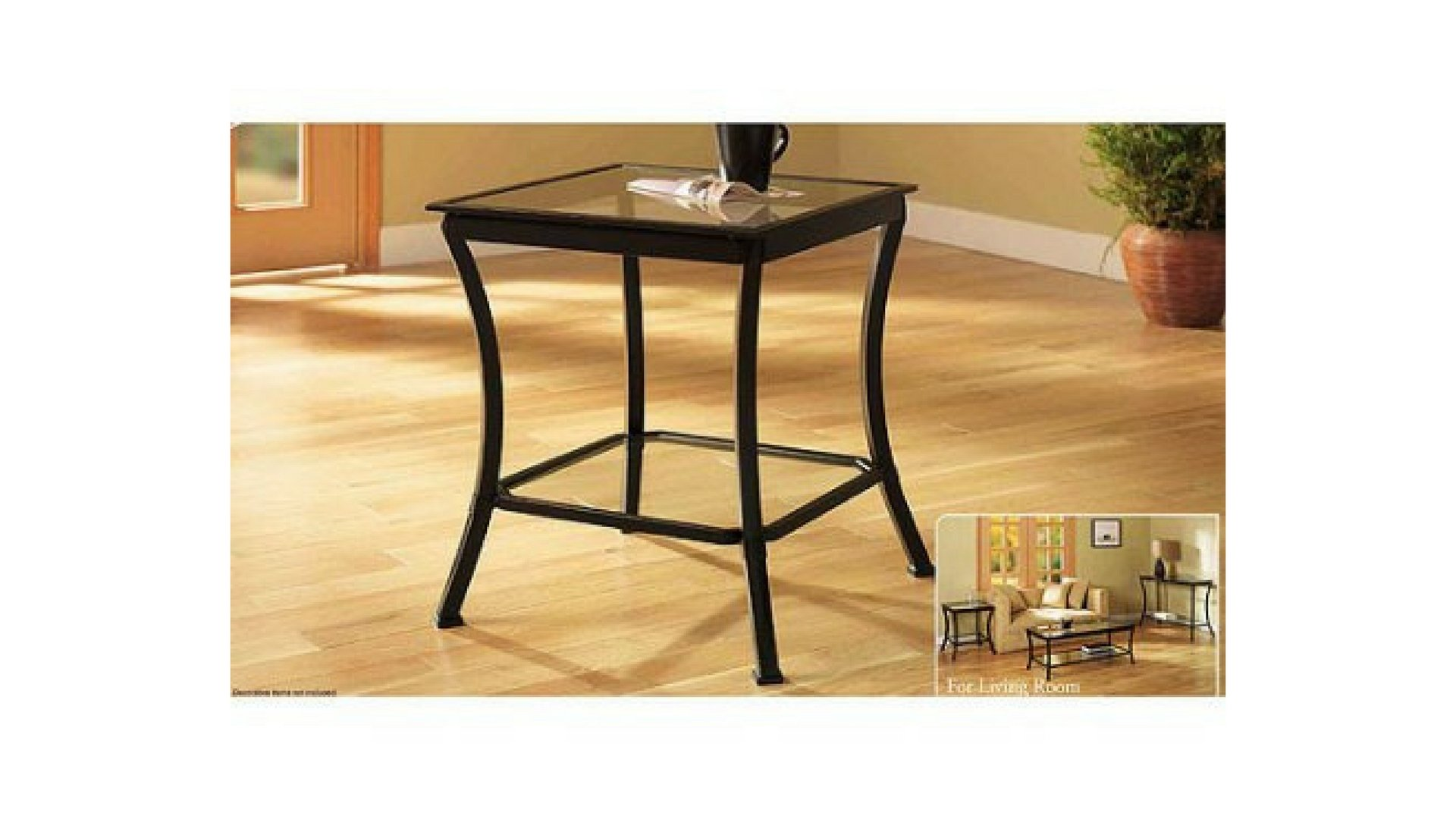 Mendocino Stylish bronze Metal & Glass Square End Table by Mendocino*