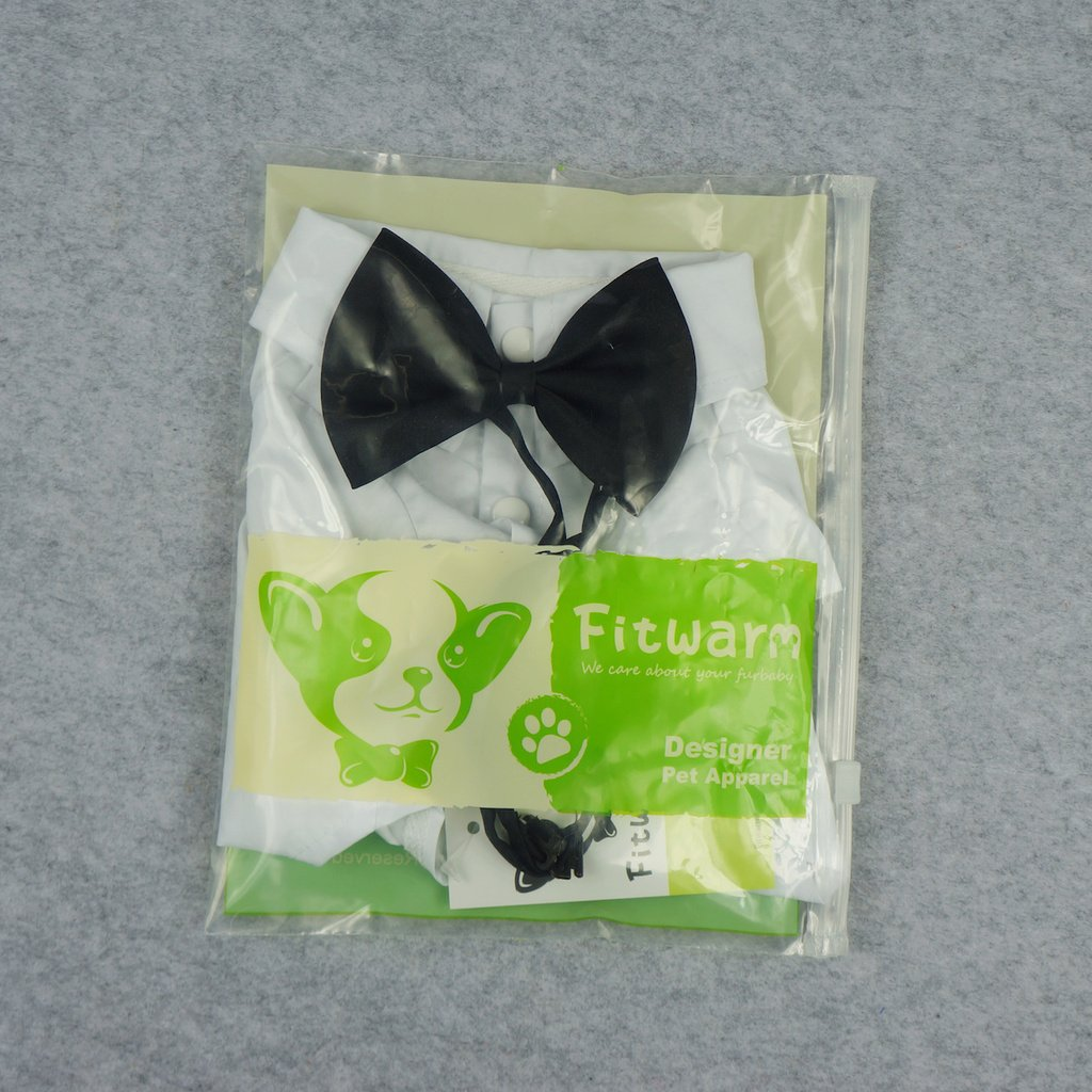 Fitwarm Pet Wedding Clothes Formal Tuxedo White Shirts for Dog with Bow tie White XL by Fitwarm (Image #6)