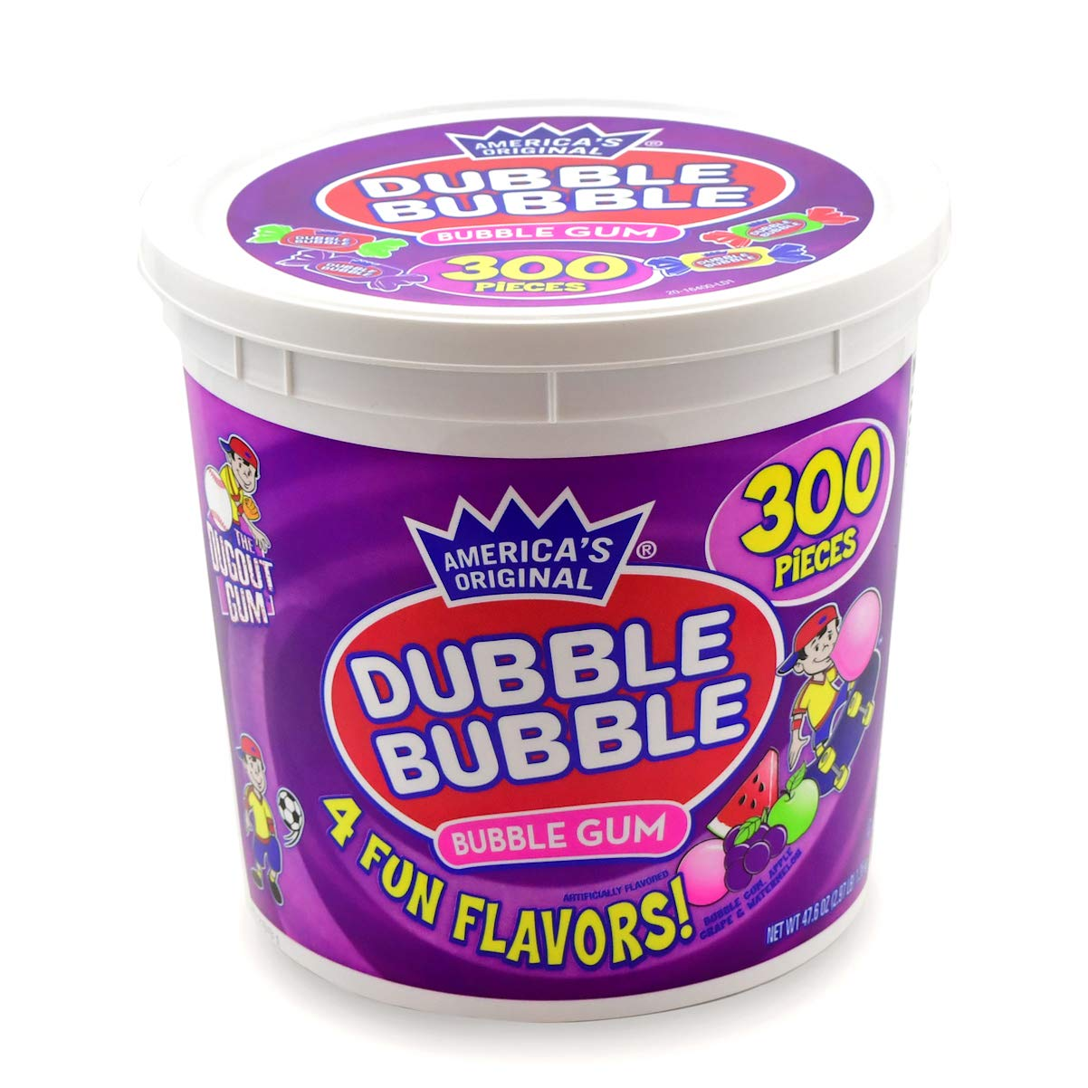 Tootsie Roll Dubble Bubble, No Peanut Allergen Tub, Assorted, 300 Count.