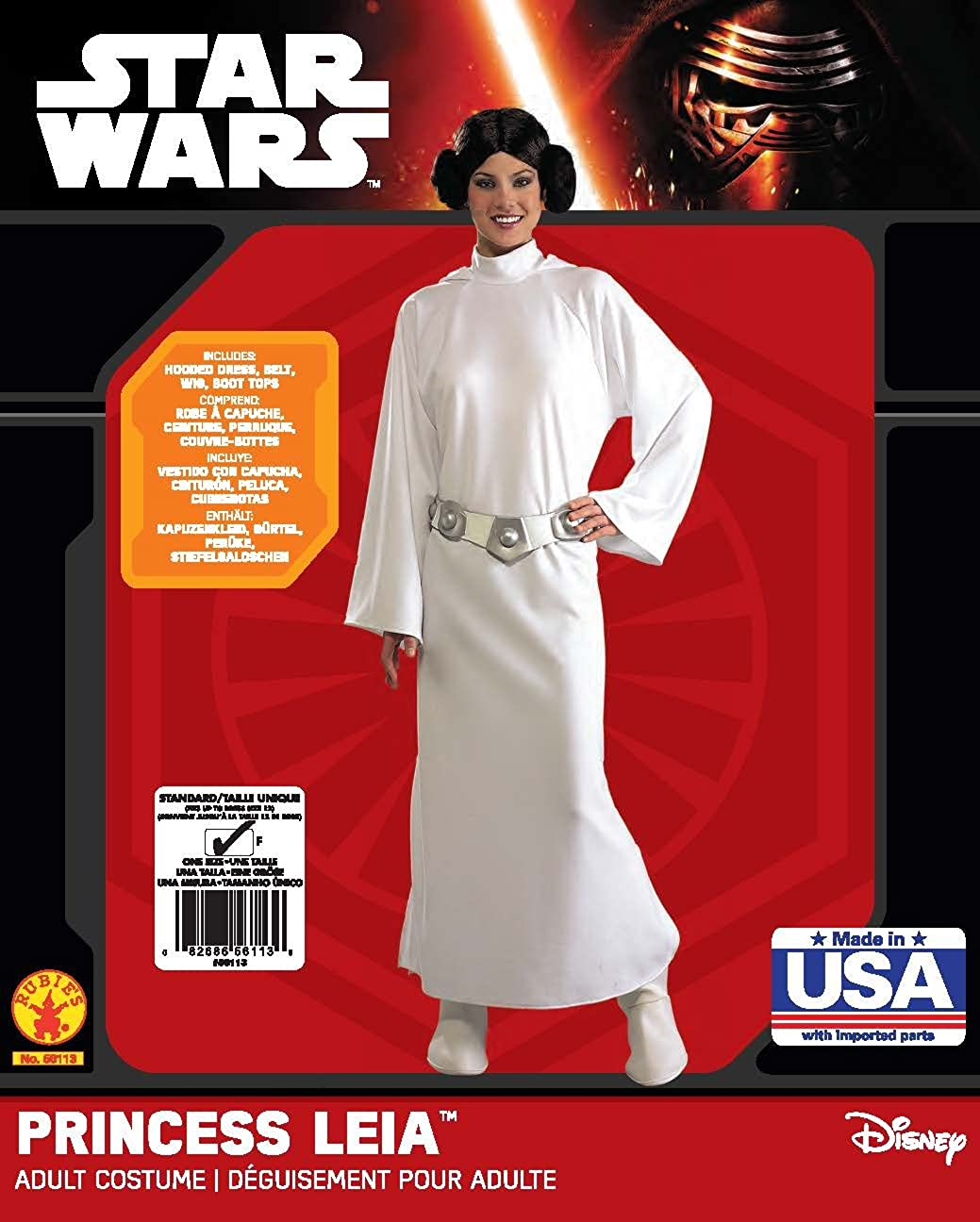 Rubies Womens Star Wars Princess Leia Deluxe Costume, One Size