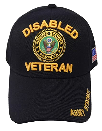 76bdf4eea87 US Warriors Army Disabled Veteran Army Emblem on the Visor Baseball Hat one  size Black at Amazon Men s Clothing store