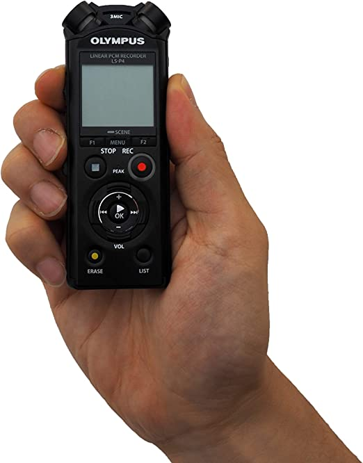 Olympus LS-P4 Grabadora de audio de alta resolución con sistema de micrófono TRESMIC 3, Bluetooth integrado, USB directo, Cancelación de Ruido de 2 ...