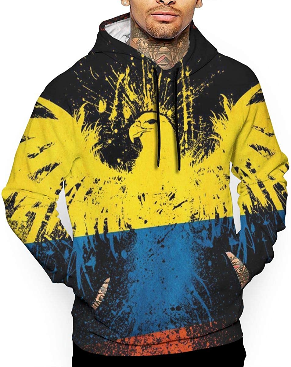G-Fulling Colombian Flag and Eagle 3D Print Fashion Mens Hooded Sweatshirts Drawstring Pullover Hoodies Pockets