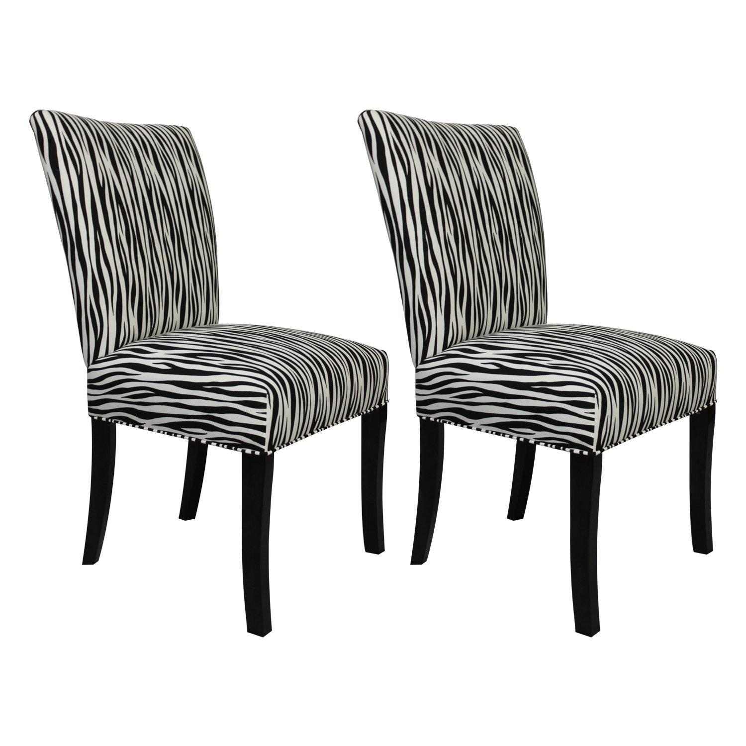 Amazon com sole designs julia collection dining chairs a set of 2 upholstered modern dining room chairs side chair miami zebra pattern chairs
