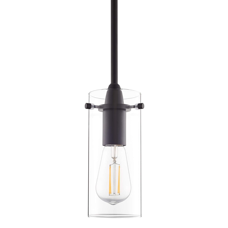 Effimero Small Hanging Pendant Light - Black w/ Clear Glass - Linea di Liara LL-P311-BLK