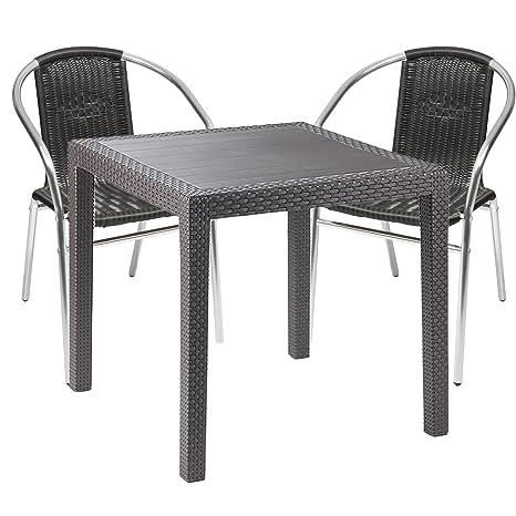 Tavoli Sedie Plastica Marca.Mobili Da Giardino 3 Pezzi Tavolo Da Giardino Plastica 79 X 79