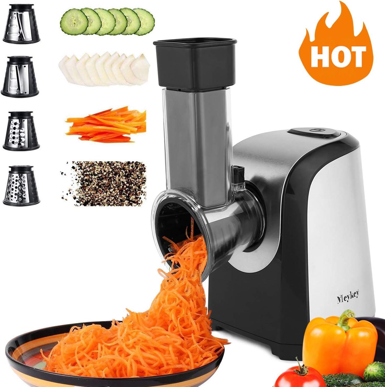 Oliote Electric - Rallador eléctrico de cocina con 4 accesorios de acero inoxidable, 150 W, color negro: Amazon.es: Hogar