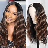 Julia Hair U Part Wig Human Hair Body Wave Ombre Wigs for Black Women ,10A Brazilian Remy Human Hair Glueless Full Head Clip