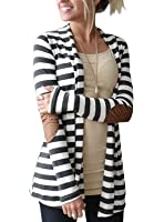 Myobe Women's Black White Elbow Patch Shawl Collar Summer Striped Open Front Cardigan Sweaters Coat Outwear …