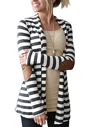 Myobe Women's Black White Elbow Patch Shawl Collar Thick Striped ...