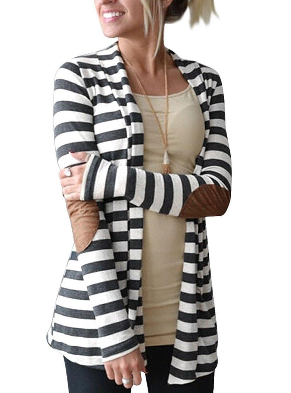 Myobe Women's Black White Elbow Patch Shawl Collar Summer Striped Open Front Cardigan Sweaters Coat Outwear (Asian XL(US L), Dark Grey)