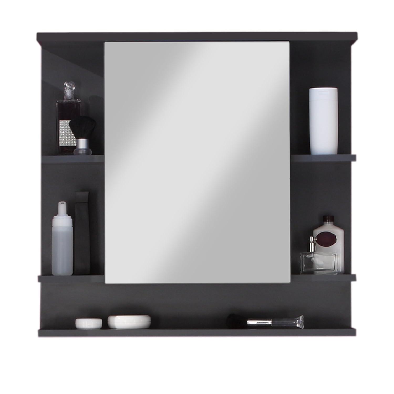 Trendteam Bagno Armadio a specchio Specchio Tetis, 72 x 76 x 20 cm, cassettiera grafite (grigio scuro), facciata bianco lucente 5 ripiani 1330-403-21