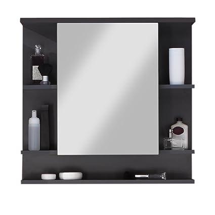 Armoire Salle De Bain Miroir.Maisonnerie 1330 403 21 Meuble Salle De Bain Miroir Armoire Murale Tetis Graphite Decor Lxhxp 72x76x20 Cm