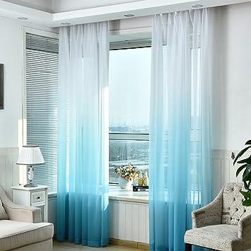 Hoomall Décoration De Fenêtres Rideau à Oeillets Occultant Rideau Chambre  Couleur Blanc Bleu Dégradé Polyester 140x245cm