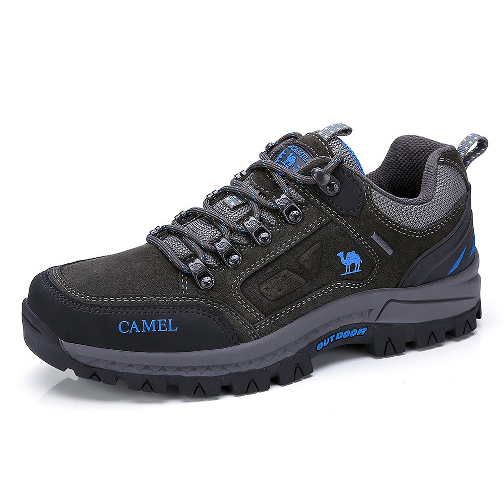 CAMEL CROWN Men's Outdoor Leather Hiking Shoes Breathable Lightweight Sneaker for Walking Trekking Grey 270 CN 9 US-270 mm(Fit 9.5 US-10 US)