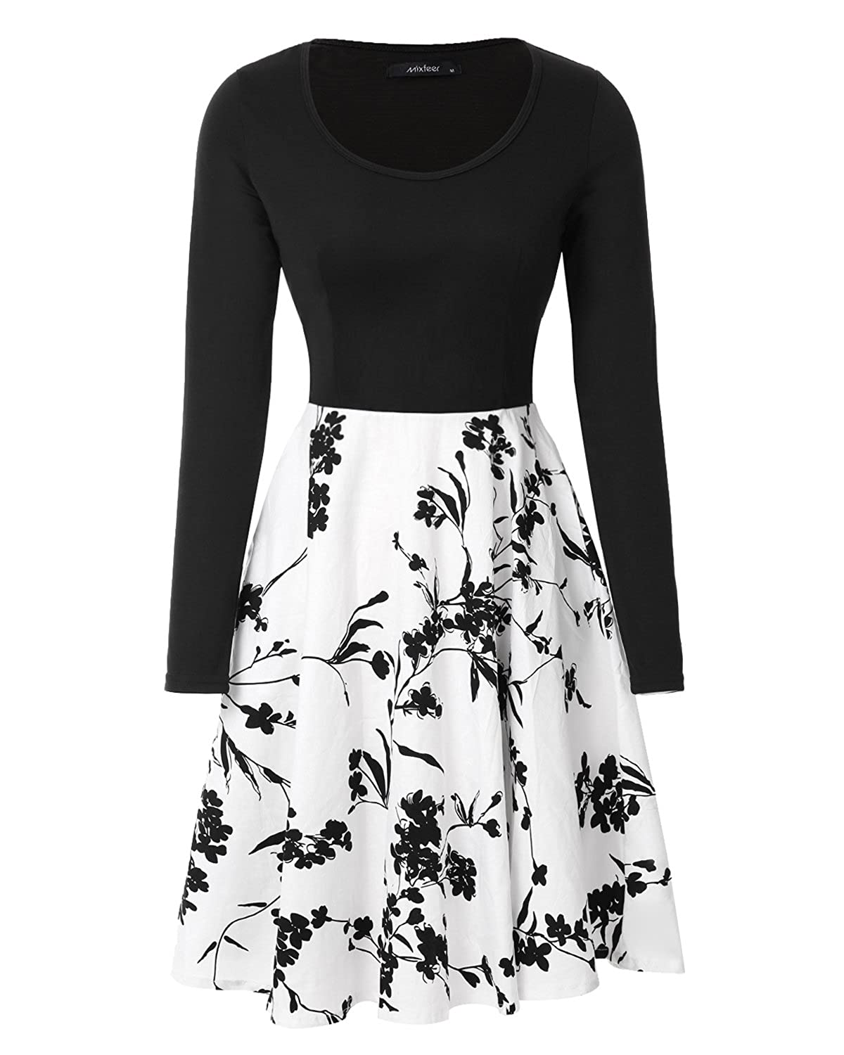 Mixfeer Women/'s Vintage Midi Dress Floral Scoop Neck Long Sleeve A-line Cocktail Party Swing Dress with Pockets