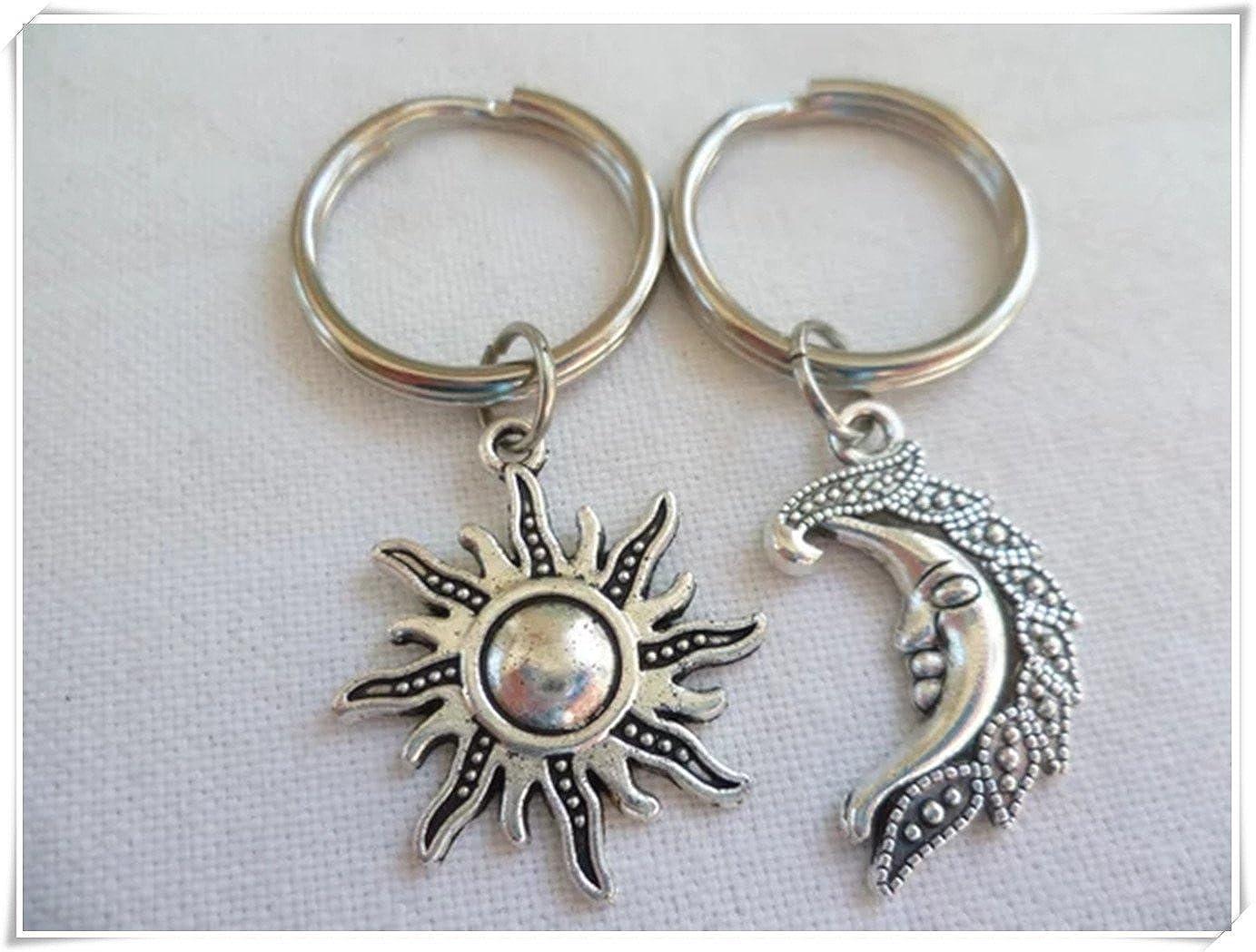 JUN sole, luna, portachiavi, portachiavi a forma di luna, sole e luna moderne di gioielli, gioielli e unico 1314 JUN m1