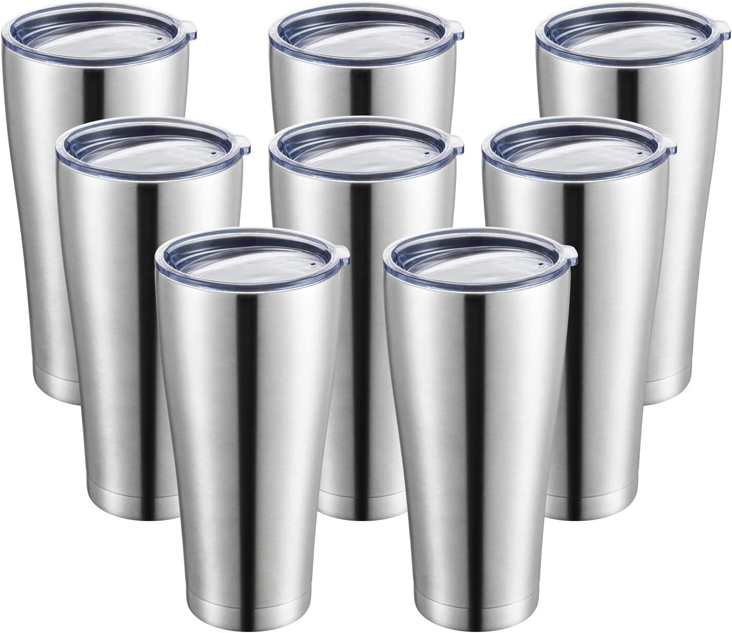 COMOOO 32oz Tumbler Insulated with Lid Stainless Steel Large Coffee Mug Double Wall Vacuum Thermos Coffee Tumblers for Cold Drinks and Hot Beverages (Silver, 32oz-8 Pack)