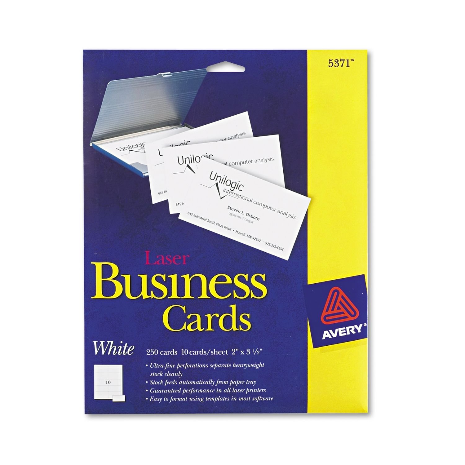 Amazon.com - Avery Laser 2 x 3 1/2 Inch White Business Cards 250 ...