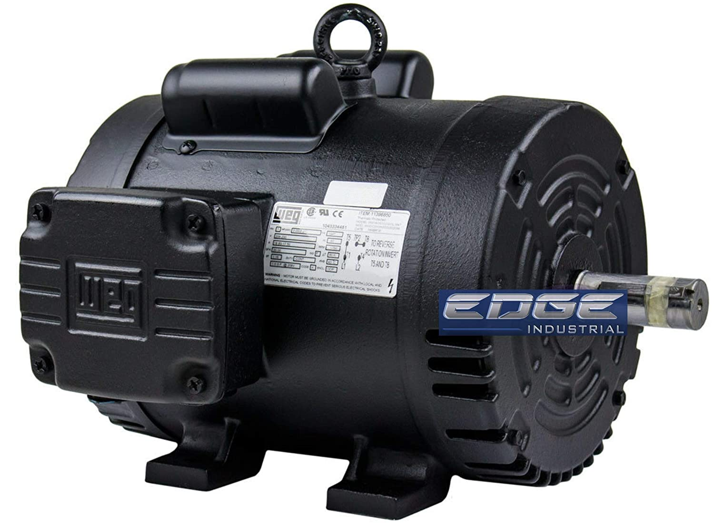 "WEG 3HP 184T Single Phase AIR Compressor Electric Motor, 208-230V, 1750 RPM, 1-1/8"" Shaft Diameter"
