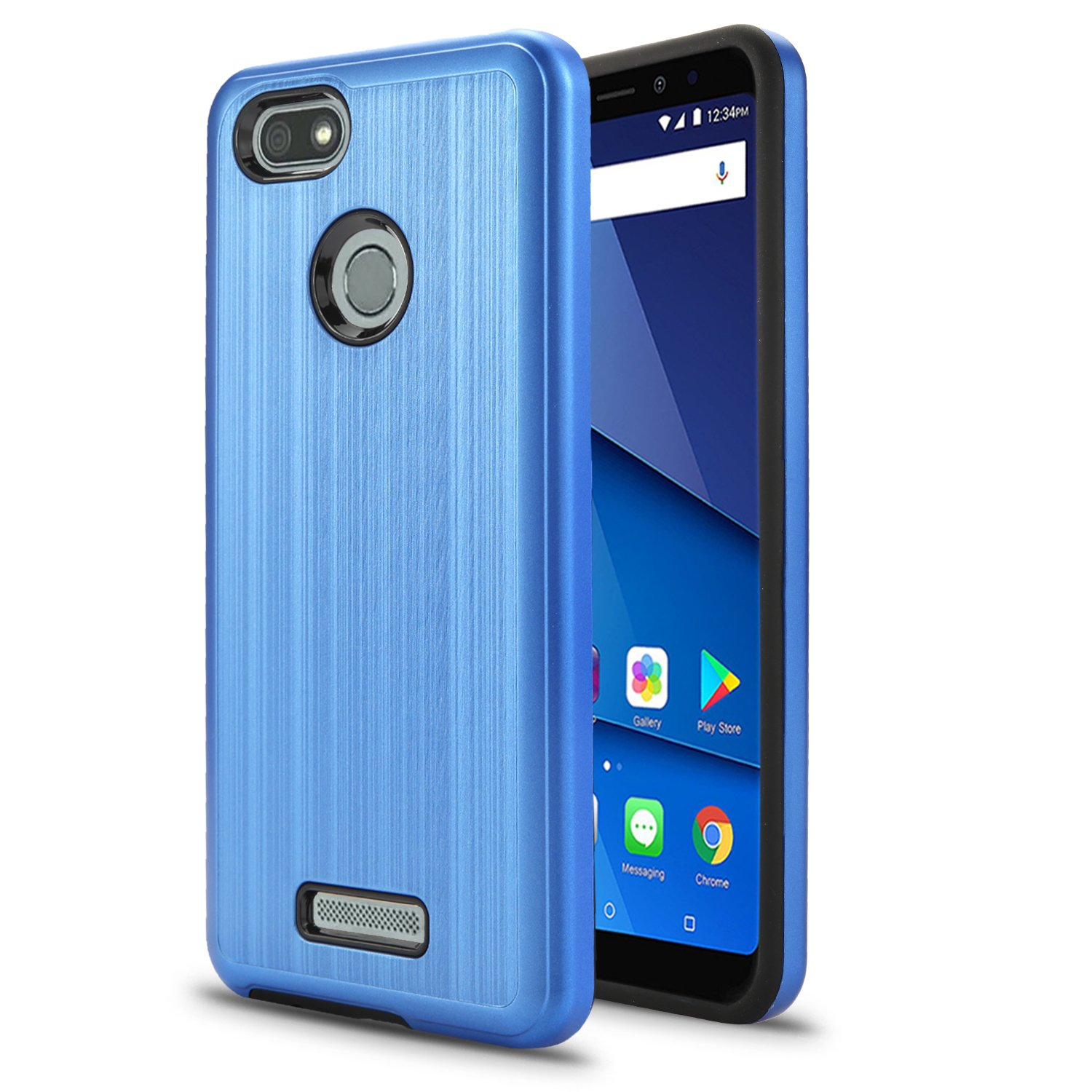 BLU Vivo XL3 case, (V0250WW) 5.5 inch case, [ New Frontier Wireless], Tough Hybrid + Dual Layer Shockproof Drop Protection Metallic Brushed Case Cover for BLU Vivo XL3 case (VGC Blue)