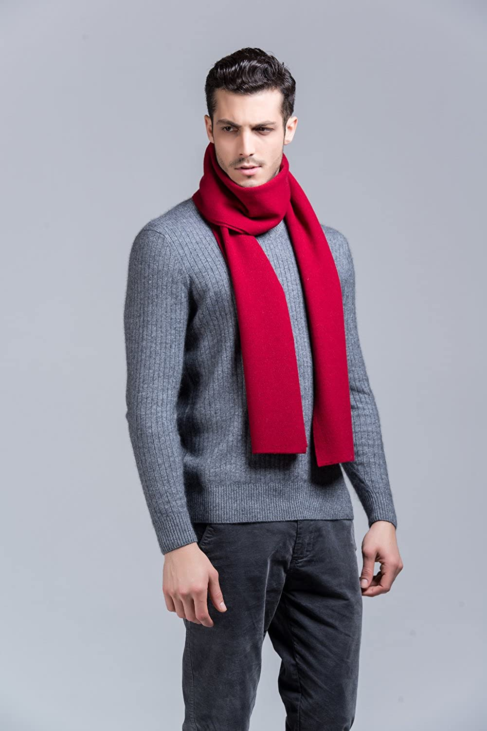 GERINLY Red Mens Cashmere Winter Long Neck Scarf