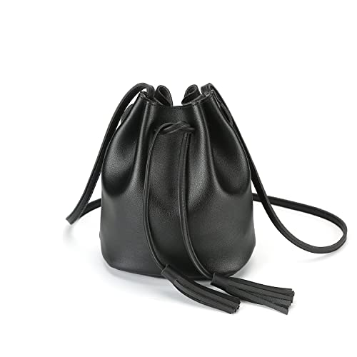 903bc3ca5a20 Amazon.com  Crossbody Handbags Drawstring Bucket Bag for Women Shoulder Bag  Purse Tote PU Leather Bags (One Size