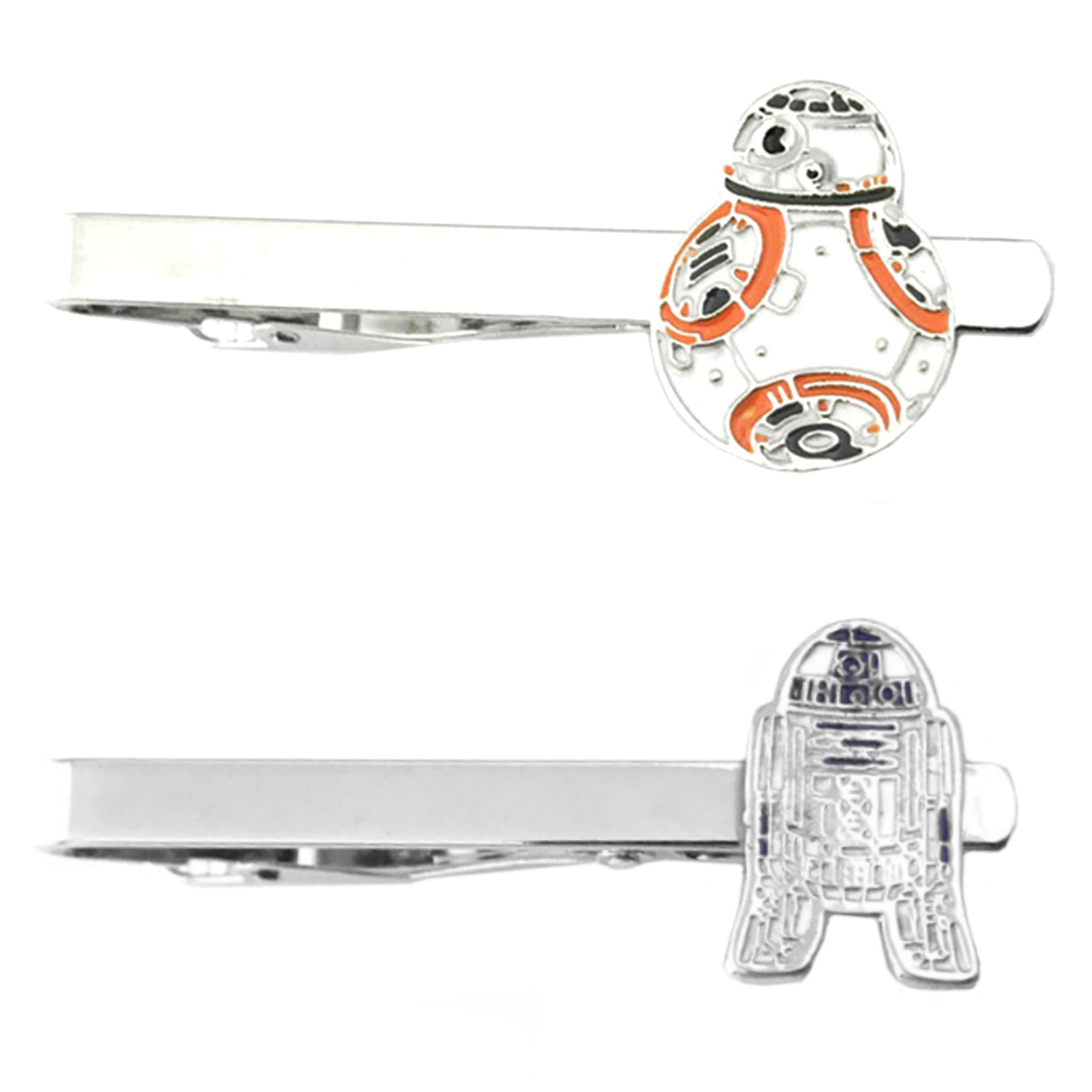 Outlander Star Wars - BB-8 Flat & R2-D2 Flat - Tiebar Tie Clasp Set of 2 Wedding Superhero Logo w/Gift Box