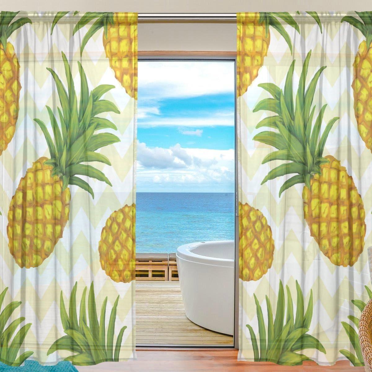 vantaso Sheer Curtains 78インチLongパイナップルWavy for Kids女の子寝室リビングルームウィンドウデコレーション2パネル 55x78x2(in)