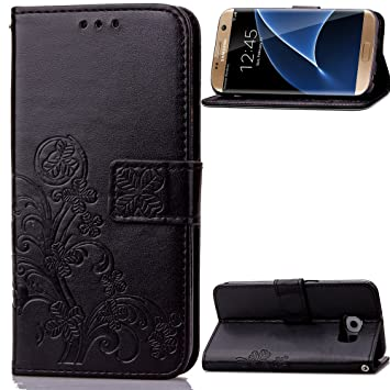 Carcasa para Funda Samsung Galaxy S7 Edge Carcasa, Cartera Flip Funda Caja de Cuero de la PU Carcasa con Tapa Flip Case TPU Funda (Black). RF08